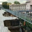 Дорога на Волжской набережной размыта ливнями