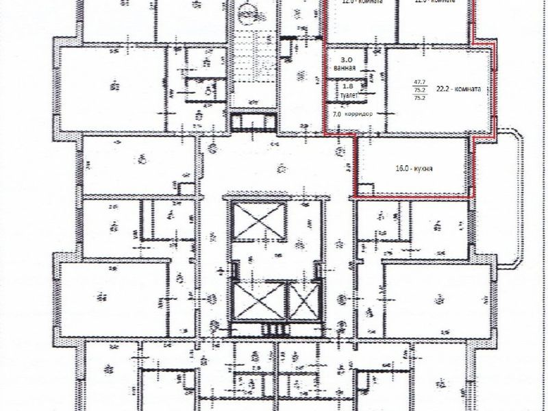 трёхкомнатная квартира на бульваре 60-летия Октября дом 21 к2
